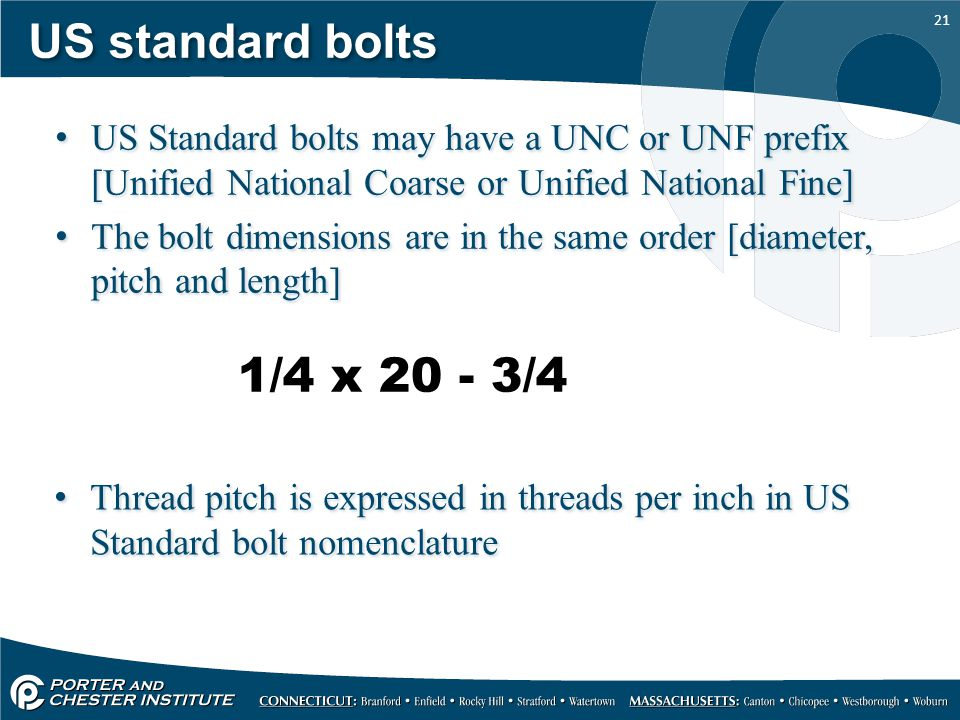 US standard bolts US Standard bolts may have a UNC or UNF prefix [Unified National Coarse or Unified National Fine]